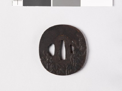 Tsuba with morning glory on a bamboo frameworkfront