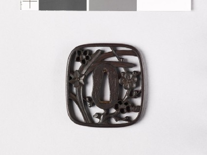 Tsuba with plum blossom and narcissus flowersfront