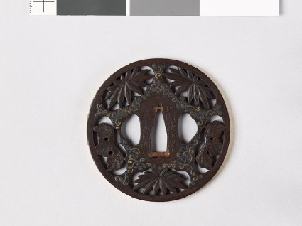 Tsuba with chrysanthemum leaves and scrolling stemsfront