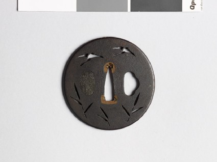 Tsuba with geese flying above reedsfront