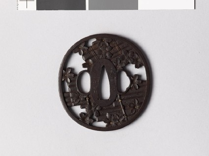 Tsuba with rafts and cherry blossomsfront