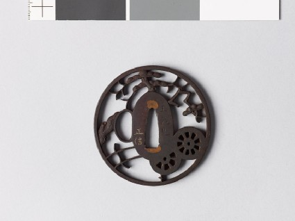 Tsuba with chariot wheels, pine tree, and karigane, or flying geesefront