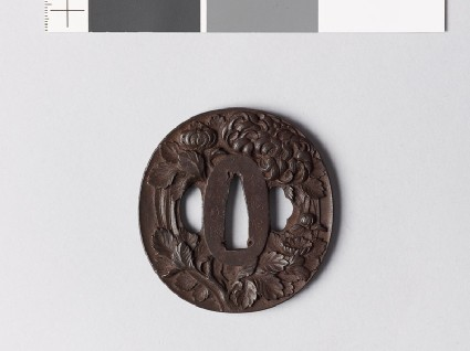 Tsuba with chrysanthemum and aster flowersfront