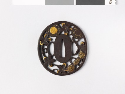 Tsuba with cherry blossoms and parts of a hand drumfront