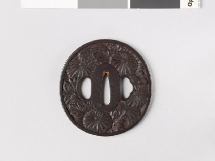 Tsuba with chrysanthemum flowers and leavesfront