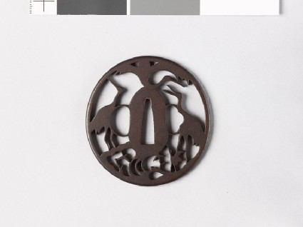 Tsuba with three cranes representing the mythical Mount Hōraifront