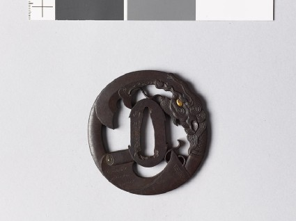 Tsuba with a scroll and the god Kwanu's spearfront