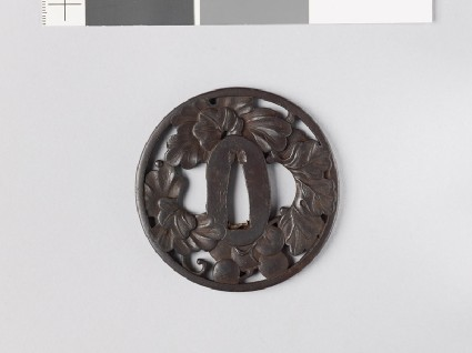 Tsuba with grape vine and dewdropsfront