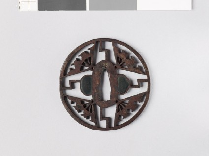 Tsuba with ware-ōgi, or broken folding fansfront