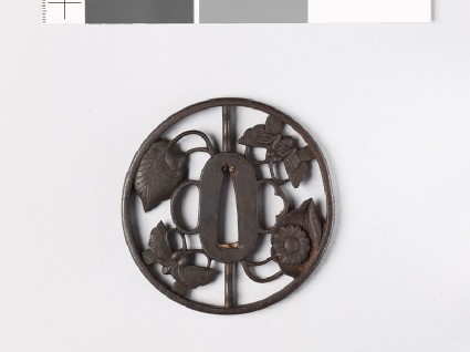 Tsuba with butterflies and aoi, or hollyhock leavesfront