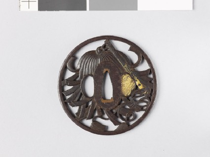 Tsuba with a saihai, or general's batonfront
