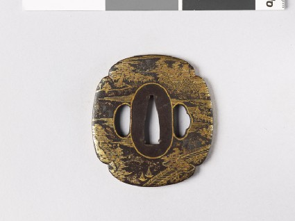 Mokkō-shaped tsuba depicting four of the Eight Views of Lake Ōmifront