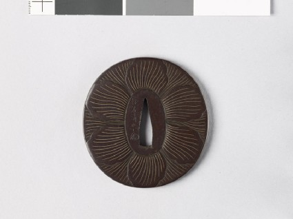 Tsuba with peony flower on each facefront