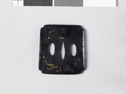 Tsuba with stellate shapes and pine needlesfront
