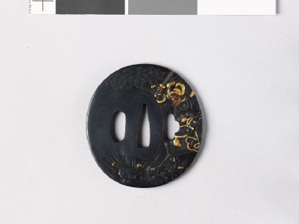 Tsuba depicting the Chinese hero Chao Yün with A Toufront