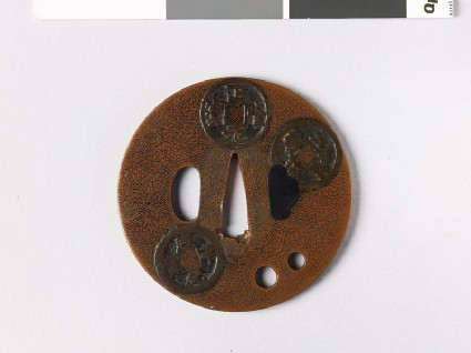Round tsuba with Chinese coinsfront