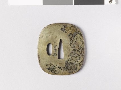 Tsuba with shishi, or lion dogs, and peoniesfront