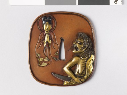 Tsuba depicting the witch of Adachi-gahara looking at the Buddhafront