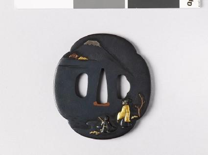Mokkō-shaped tsuba depicting a court noble looking at Mount Fujifront