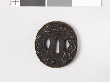 Tsuba with dragon and cloudsfront