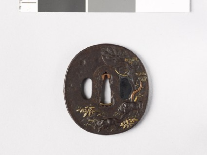 Tsuba with horses in a landscapefront