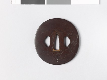 Lenticular tsuba with horsesfront