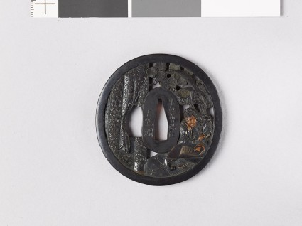 Tsuba depicting the Chinese general Kuan Yü with his dragon spearfront