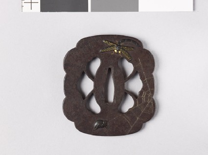 Lobed and mokkō-shaped tsuba with dragonfly, spider, wasp, and websfront