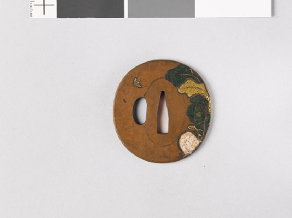Tsuba with turnip and butterflyfront