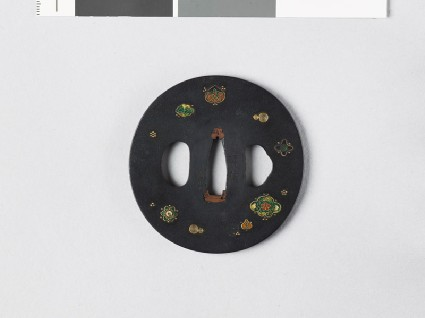 Tsuba with clouds, plum blossoms, and aoi, or hollyhock leavesfront