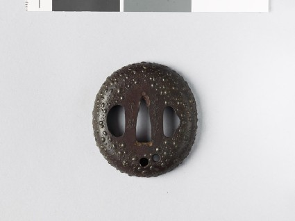 Tsuba with gama-hada, or toad skin, surfacefront