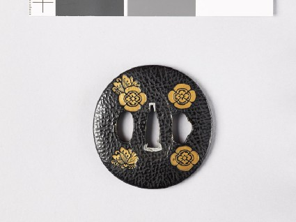 Lenticular tsuba with butterflies and transverse mokkōfront