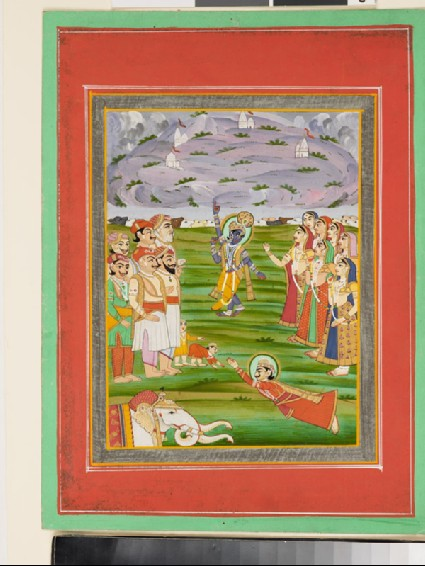 Krishna lifting the Mountain Govardhana on his fingersfront