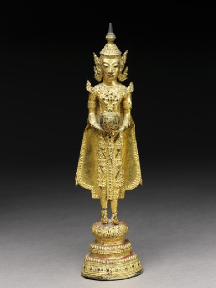 Figure of the Crowned Buddha with alms-bowlfront