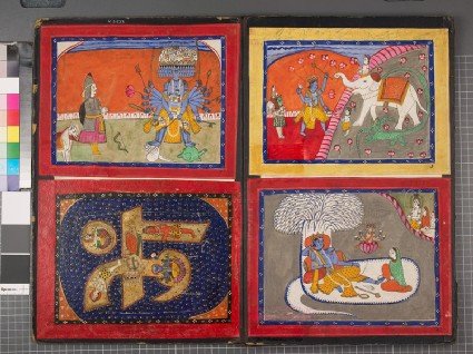 Album of 11 miniature paintings, mostly of Vaishnava deitiesfront
