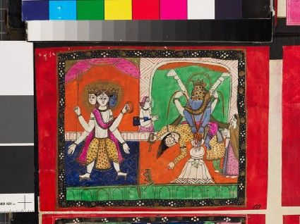 Three-headed deity, and a figure disembowelling a manfront