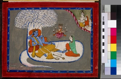 Vishnu reclining on the serpent Shesha in the primordial oceanfront