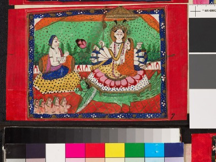 Deity sitting on a lotus with other figures in attendancefront