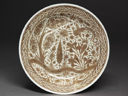 Dish with phoenix in a landscapetop