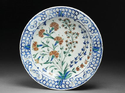 Dish with carnations and hyacinthstop