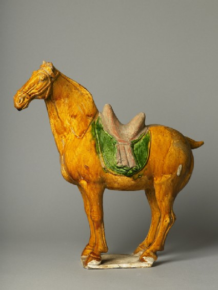 Earthenware horse with saddleside