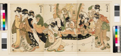 Children playing the seven gods of good fortune in a New Year's playfront