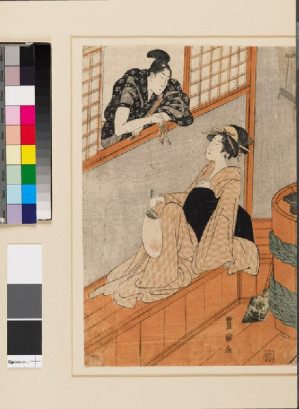 A woman in a bath house talking to a man through the windowfront