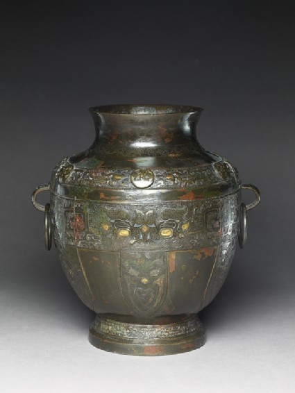 Bronze vase in the form of an ancient hu vesseloblique