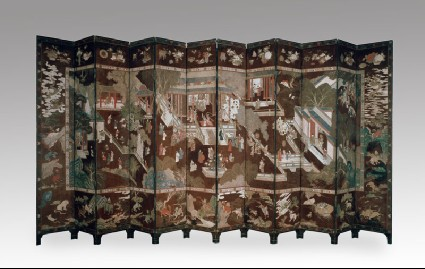 Coromandel screen with Chinese palace scenefront