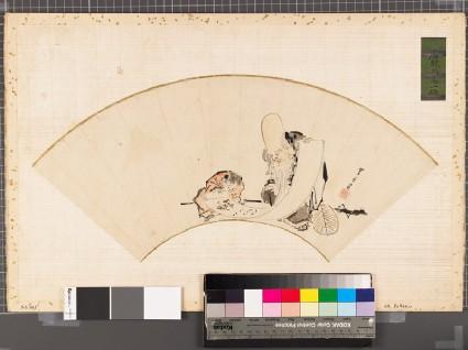 Fukurokuju, one of the Seven Lucky Gods, showing a scroll to a karako, or Chinese boyfront