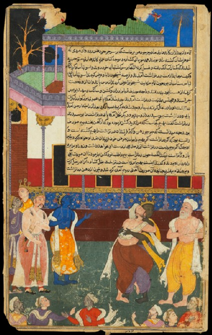 The blind Dhritarashtra attacks the statue of Bhimafront