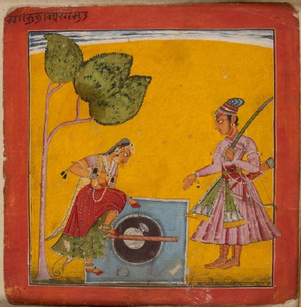 A lady and prince at a well, illustrating the musical mode Raga Kumbhafront