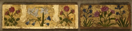 Two panels with flower designs, possibly from a boxfront