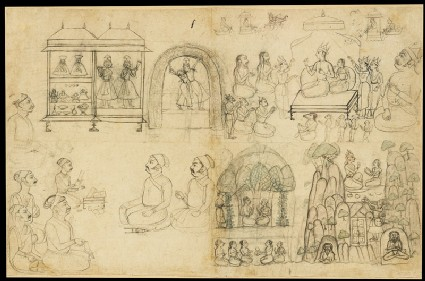 Sheet of sketches and figure studiesfront